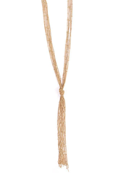 Gift Ideas -  Necklaces Knotted Fringe Necklace in Gold