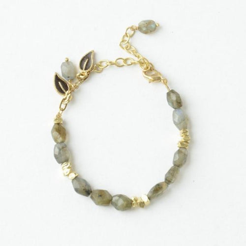 Gift Ideas -  Necklaces Labradorite and Brass Leaves Bracelet