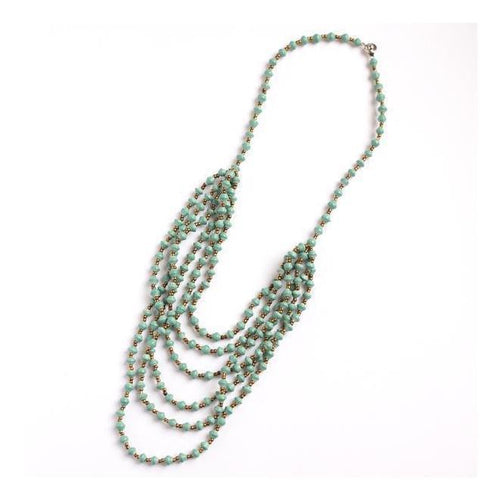 Gift Ideas -  Necklaces Layered Paper Bead Necklace - Teal