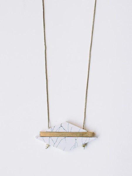 Gift Ideas -  Necklaces Modern Marble Necklace in White