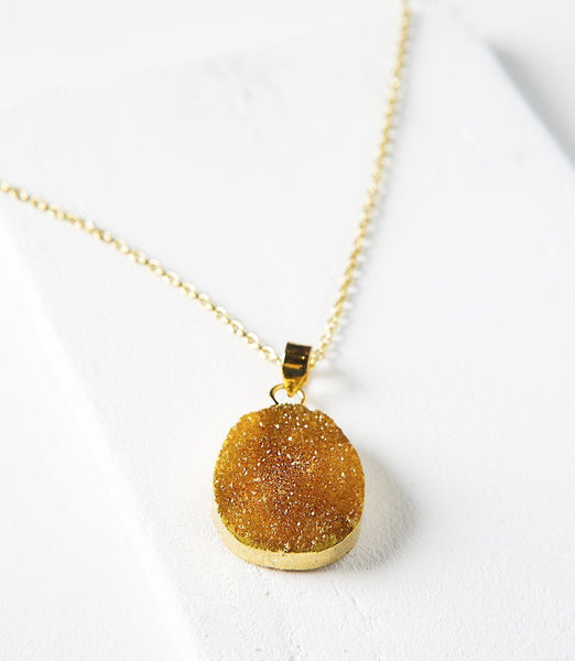 Gift Ideas -  Necklaces Rishima Druzy Drop Necklace - Citrine, White, Dark Blue, or Light Blue