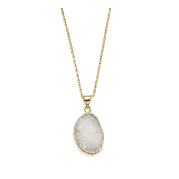 Gift Ideas -  Necklaces Rishima Druzy Drop Necklace - White, Dark Blue, or Light Blue