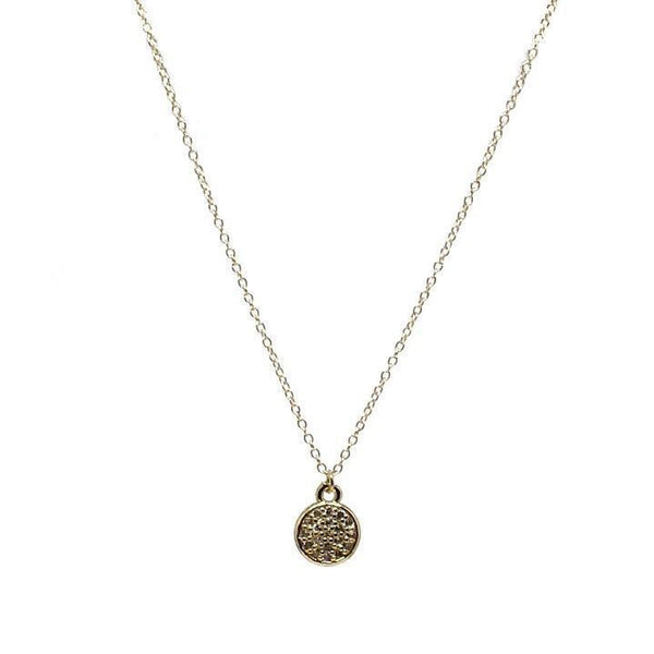 Gift Ideas -  Necklaces Round Micro Pave Crystal Pendant Necklace