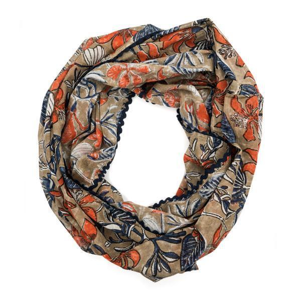 Gift Ideas -  Scarves + Wraps Block Print Botanical Infinity Scarf - Coral, Indigo or Emerald