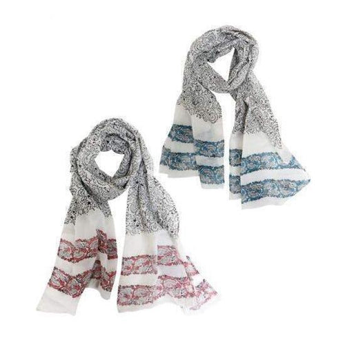 Gift Ideas -  Scarves + Wraps Freedom Fighters Block Print Scarf - Turquoise or Fuchsia