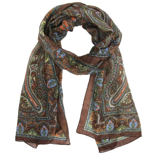 Gift Ideas -  Scarves + Wraps Indian Arches Silk Scarf in Brown