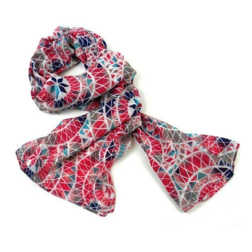 Gift Ideas -  Scarves + Wraps Pink Circles Scarf