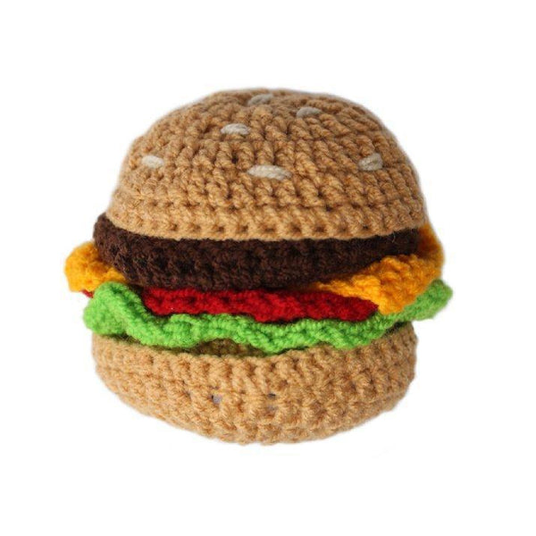Gift Ideas -  Toys + Plush Crocheted Hamburger Baby Rattle