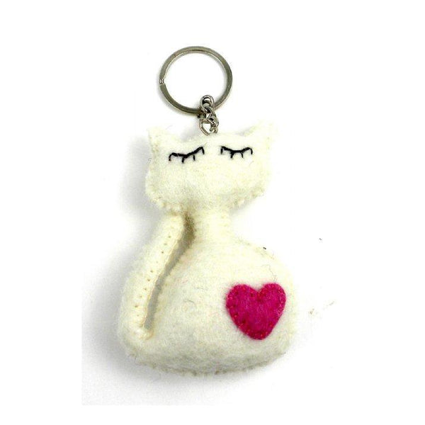 Gift Ideas -  Toys + Plush Felt Cat Key Ring - Cream or Grey