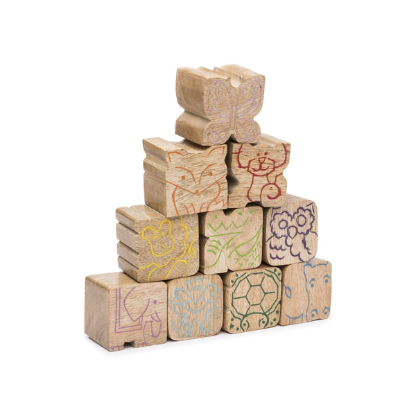 Gift Ideas -  Toys + Plush Stacking Critters Wooden Blocks - Set of 10
