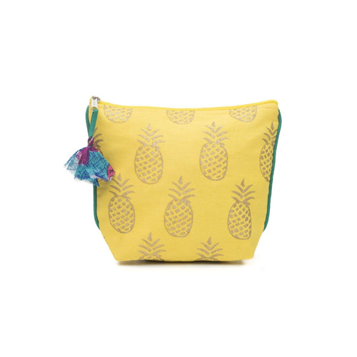 Gift Ideas -  Travel + Organization Metallic Cosmetic Bag - Pineapple or Bicycle Pattern