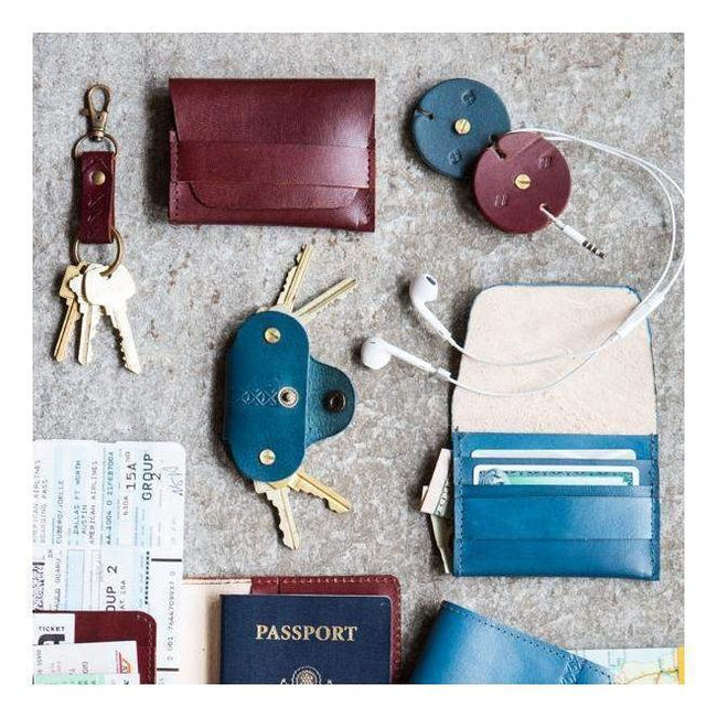 Gift Ideas -  Wallets + Coin Purses Sustainable Leather Wallet - Brown or Blue