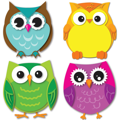 Colorful Owls Mini Cut-Outs