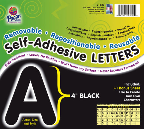 Black 4In Self-Adhesive Letters