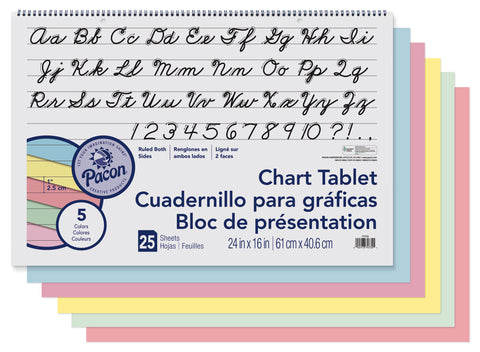 Chart Tablet 1In Asst Ruled 16X24