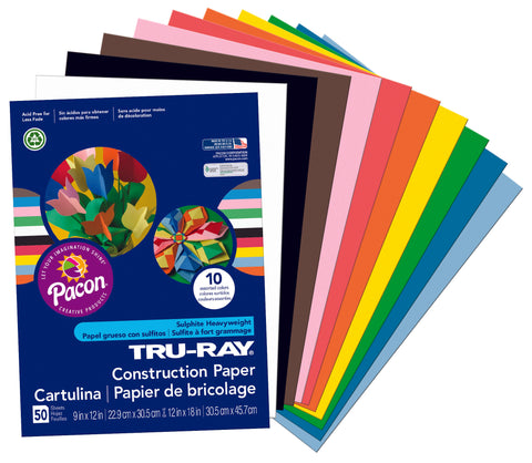 Assorted 9X12 Construction Paper