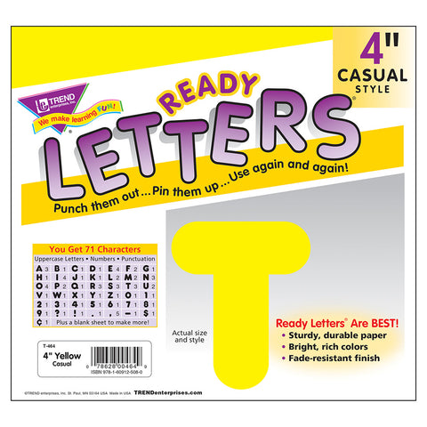 Yellow 4In Casual Ready Letters