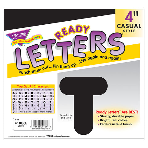 Black 4In Casual Ready Letters