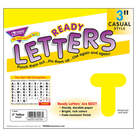 Yellow 3In Casual Ready Letters