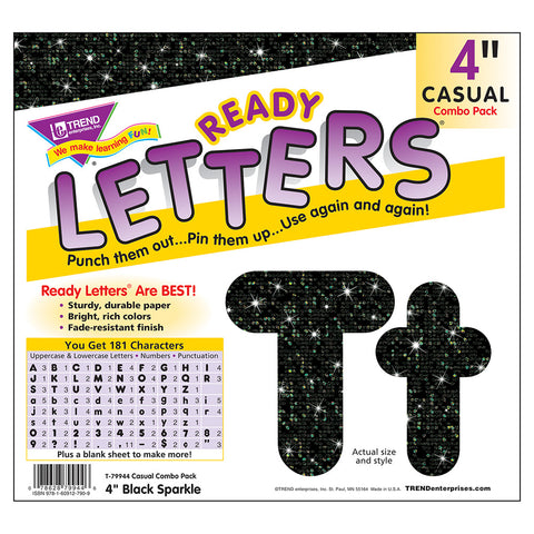 Black Sparkle 4In Casual Combo Letters