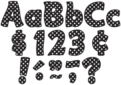 Black Polka Dots 4In Letters Comb