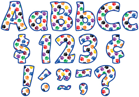 Colorful Paw Prints 4In Letters