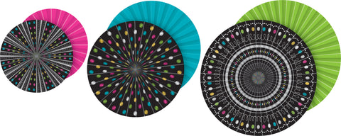 Hanging Paper Fans Chalkboard Brights