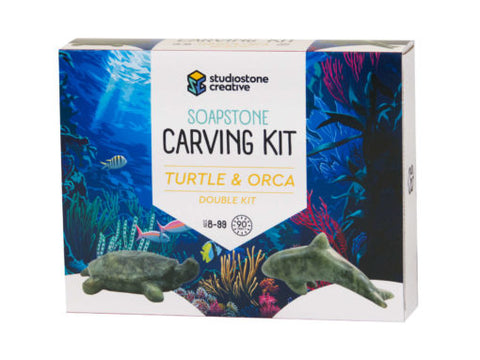 Turtle & Orca Soapstone Carving Kit