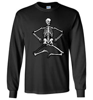 Halloween Skelton Women's round neck long sleeve black