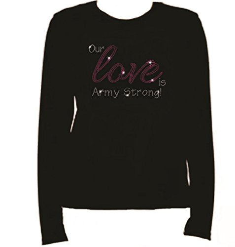 Bling Army Our Love Rhinestone Ladies T Shirt LR ZK4E
