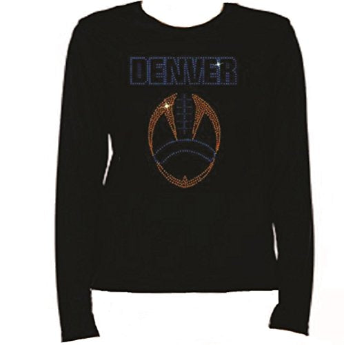 Rhinestone Denver Football T Shirt LR O0I6