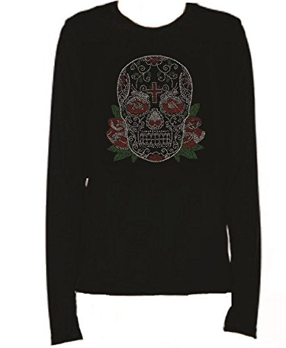 Bling Rhinestone Sugar Skull With Cross Colored Long Sleeve Round Neck FUTI
