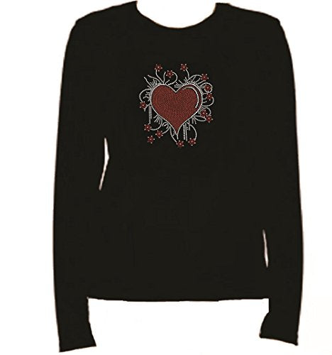 Rhinestone Heart Long Sleeve-Round Neck-Black T Shirt -BWB0