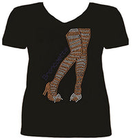 Rhinestone Denver Football Legs T Shirt SV IRD4
