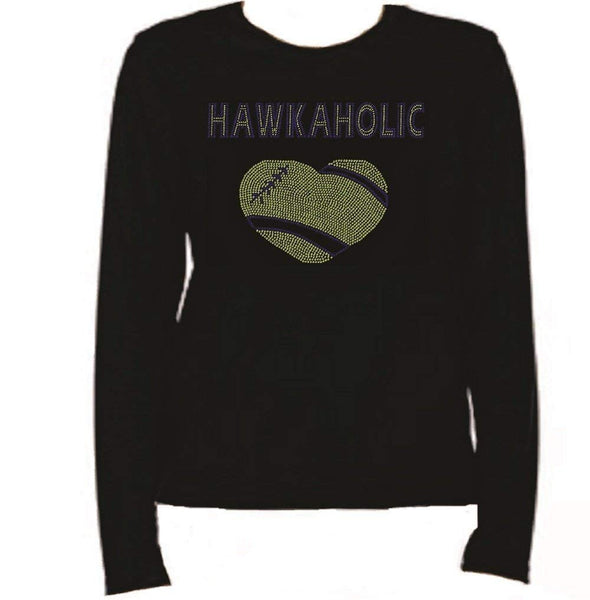 Bling Seattle Football Hawkaholic #2 T Shirt LR Z1FA
