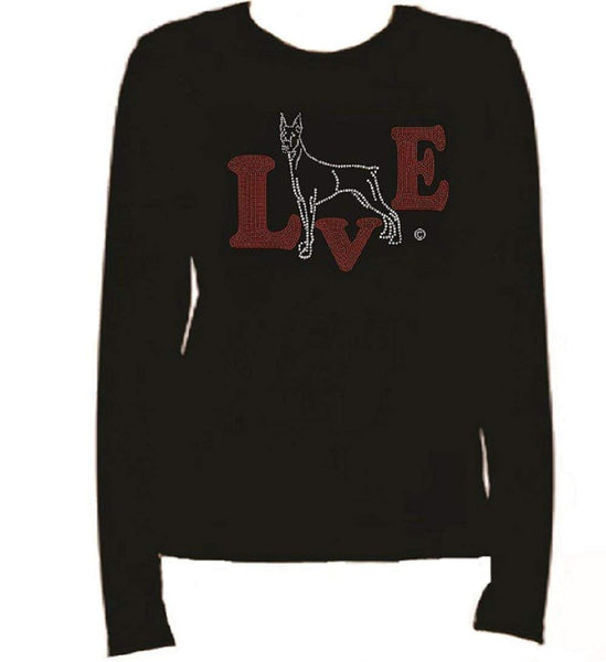 Bling Doberman Love Rhinestone women's T Shirt LR -S5MX