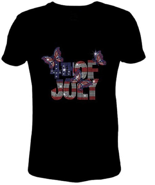 Bling Rhinestone Womens T Shirt 4th of July with Flag Butterfly JRW-675-SC