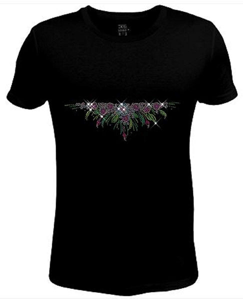 Rhinestone Womens T Shirt Bloom Flower JRW-597 - L/Women Short-Sleeve-Crewneck-T-Shirt
