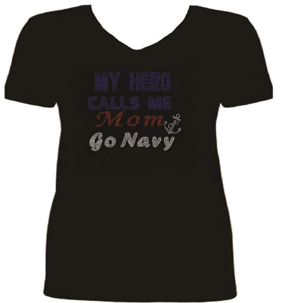 Bling  Rhinestone Navy My Hero Ladies T Shirt SV FMSH