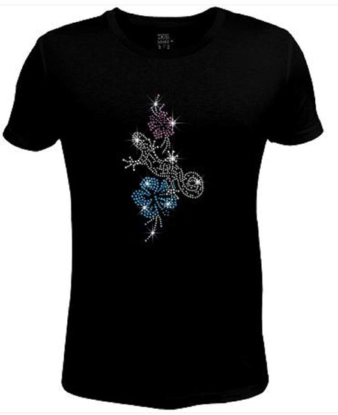 Bling Rhinestone Womens T Shirt Beautiful Flower JRW-572 - SC