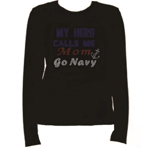 Bling Navy My Hero Rhinestone Ladies T Shirt LR FMSH