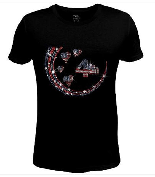 Bling Rhinestone Womens T Shirt 4th of July Flag Heart JRW-673 - SC