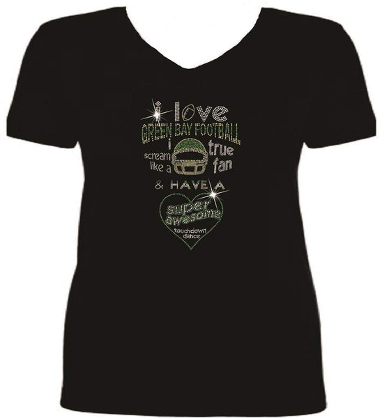 Bling Green Bay Football I LOVE T Shirt sv MZ6F