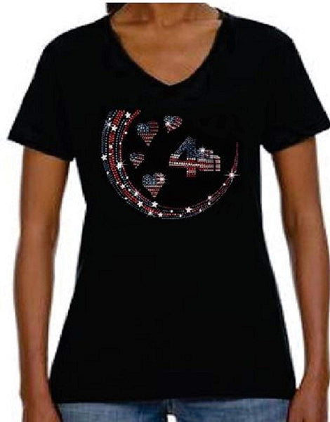 Bling Rhinestone Womens T Shirt 4th of July Flag Heart JRW-673 - SV