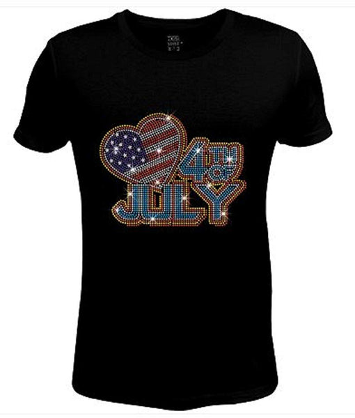 Bling Rhinestone Womens 4th of July T Shirt Big Heart 4th of July JRW-677 - SC