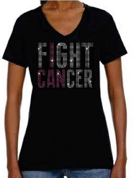 Bling Rhinestone Womens T Shirt Breast Cancer Fight JRW-100 - SC
