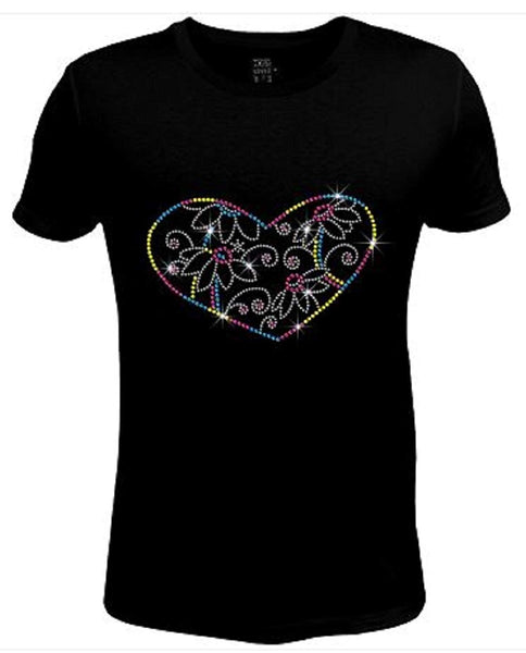 Bling Womens T Shirt Blooming Flower Heart JRW-549 - SC
