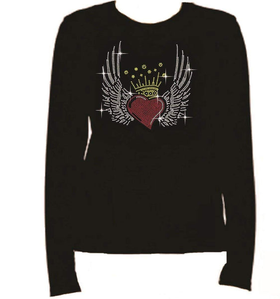 Bling Rhinestone Heart Crown Wings Long Sleeve-Round Neck-Black T Shirt -0US5