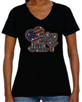 Bling Rhinestone Womens 4th of July T Shirt Big Heart  JRW-677 - SV