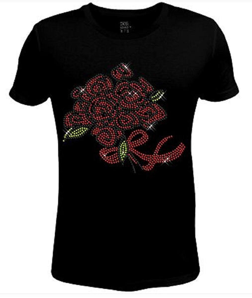 Bling Rhinestone Womens T Shirt A Bunch Roses JRW-627 -SC